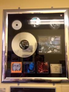 Rory Gallagher's Platinum Disc for 'Live in Europe' proudly on display among other unique Rory related artefacts in the music library which bears his name.