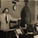 1950s Fleischmann rehearsing with Cork Symphony Orchestra in UCC for the ballet