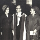 Dec 1964 Aloys Fleischmann Trinity Mus. Doc.h.c. with Maeve, wife, Anne, Neil