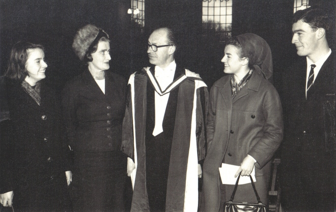 1964 12 Aloys Fleischmann Trinity Mus. Doc.h.c. with Maeve, wife, Anne, Neil