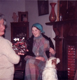 1980s Anne Fleischmann, J.D.Moriarty at Glen House for Xmas