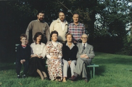 1990 10 05 Aloys Fleischmann with his five children, grandson Max, son-in-law Rainer Würgau