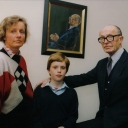 1992 Virginia Sandon Fleischmann portrait with Maeve, Max, Aloys Fleischmann