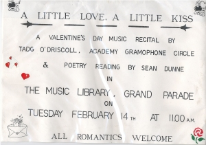 A flyer from one of Tadhg O'Driscoll's many recitals in Cork City Library.